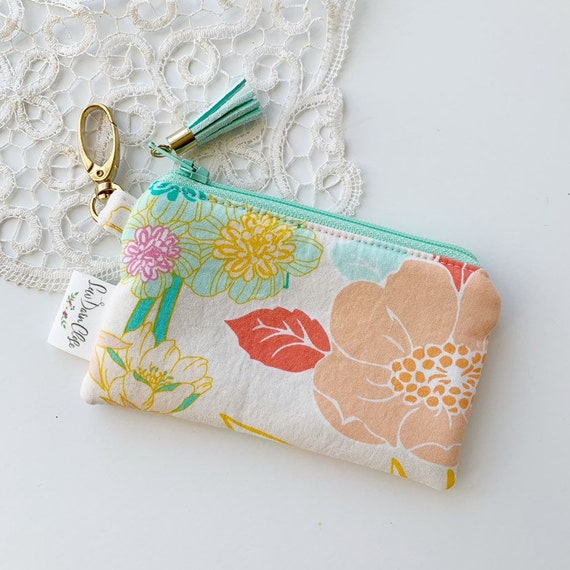 Card Pouch // Peach and Aqua