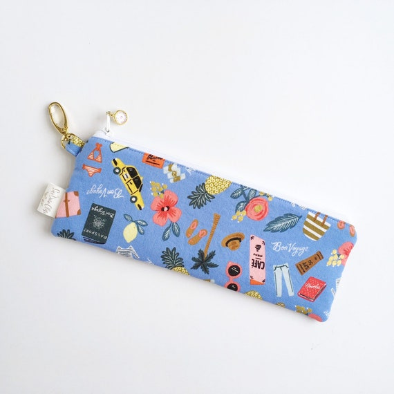 "9.5"" x 3.5"" Top Zippered Pouch // Bon Voyage"