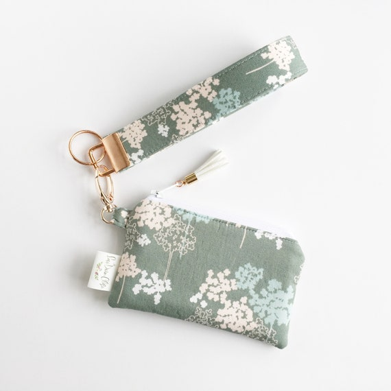 Keychain Pouch // Pink and Green Flowers