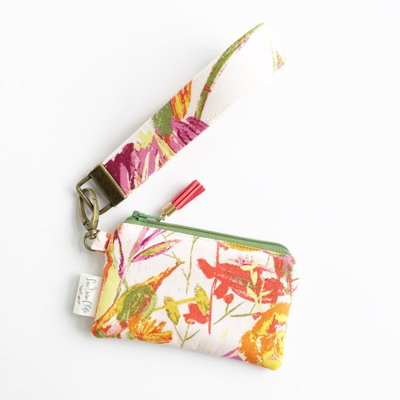 Keychain Pouch // Red and Green Floral