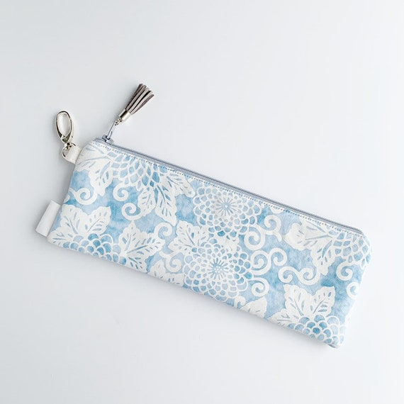 "9.5"" x 3.5"" Top Zippered Pouch // Blue and White Floral"