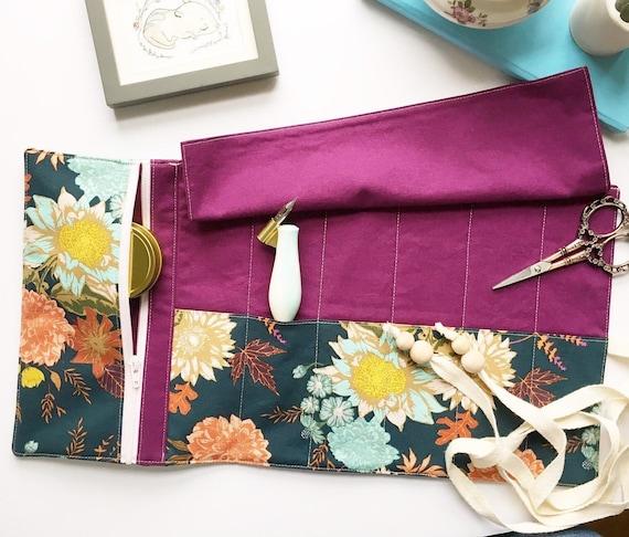 Semi-Custom Artist Roll or Pen Roll with zippered pocket