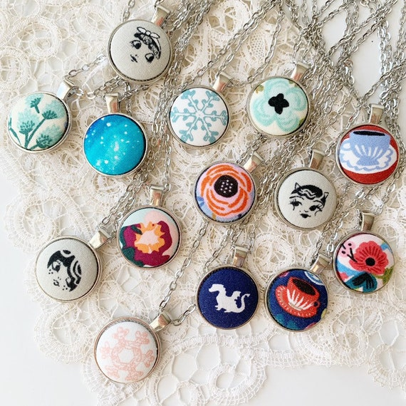 Fabric Button Necklaces // Silver