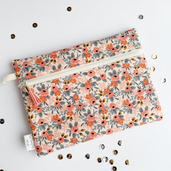 Rectangle Pouch Pencil Case // Rifle Paper Co Rosa in peach