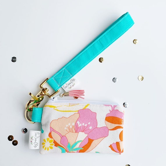 Keychain Pouch // Pink and Teal Floral