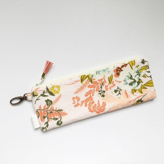 "9.5"" x 3.5"" Top Zippered Pouch // Wild Posy Flora  by Bonnie Christine"