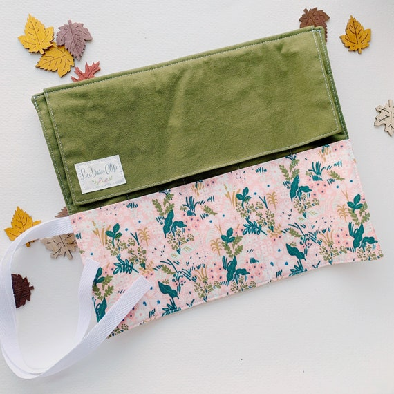 Artist Roll or Pen Roll // Green and Pink Floral