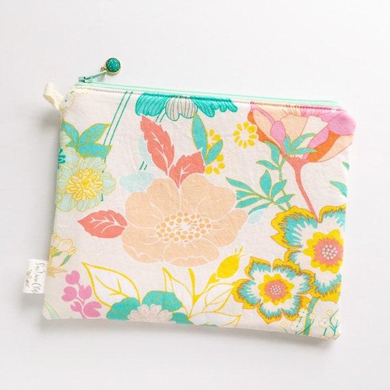 Rectangle Pouch Pencil Case // Teal Floral