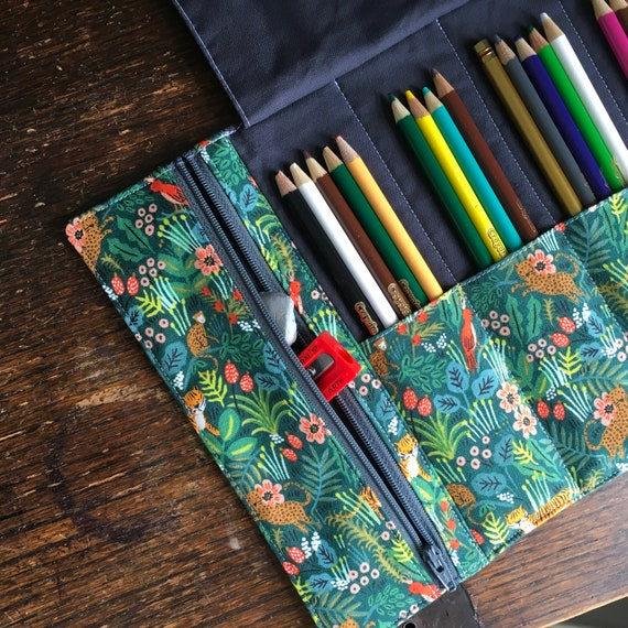 Semi-Custom Colored Pencil Roll with zippered pocket