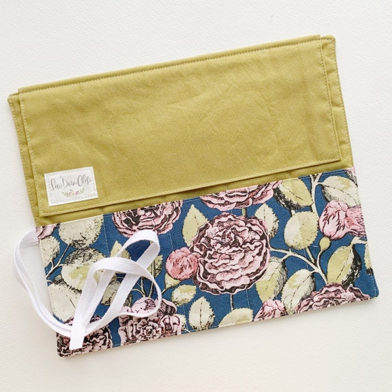 Artist Roll or Pen Roll // Navy and Pink Floral