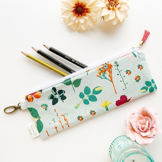 "9.5"" x 3.5"" Top Zippered Pouch // Teal Floral"
