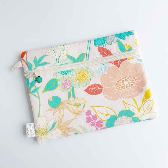 Rectangle Pouch Pencil Case // Teal Floral