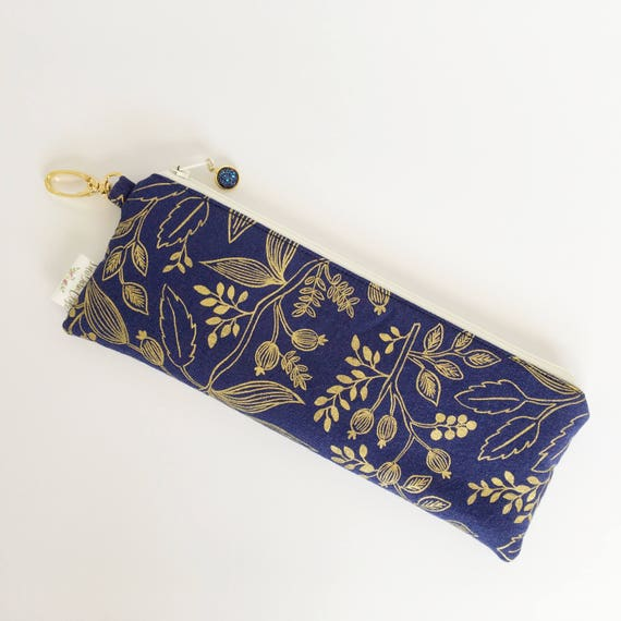 """9.5"""" x 3.5"""" Top Zippered Pouch // Queen Anne in Navy by Rifle Paper Co"""