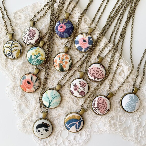 Fabric Button Necklaces // Antique Bronze
