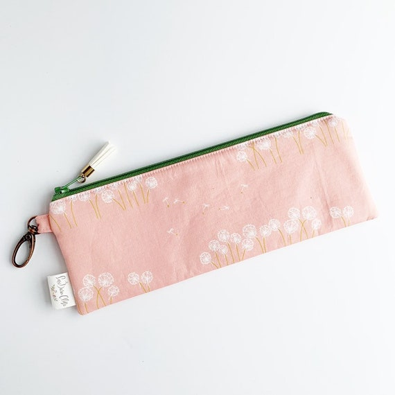 "9.5"" x 3.5"" Top Zippered Pouch // Dandelions"