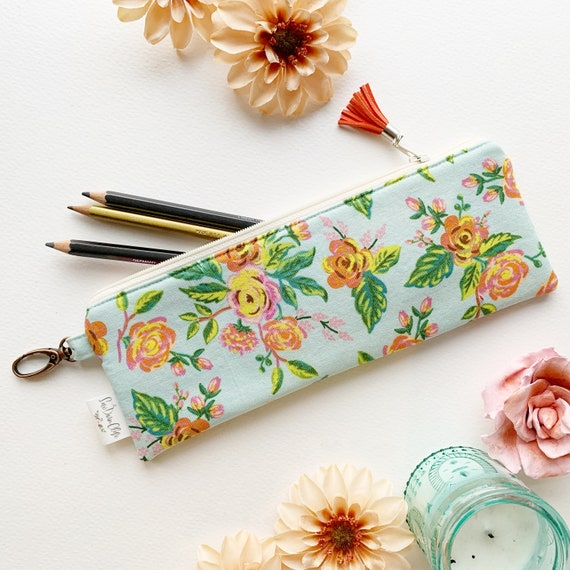 "9.5"" x 3.5"" Top Zippered Pouch // Aqua Floral"