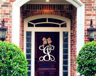 Superbe Custom Single MONOGRAM Door Hanger /UNFINISHED/ House Warming  Gift/Script/chevron/Initial/wooden/wedding Gift/front Door Decor