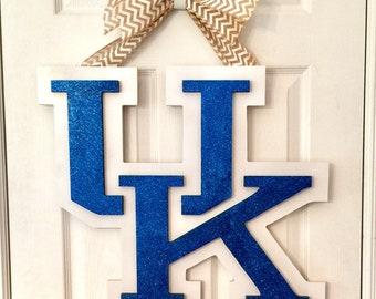 Univeraity of Kentucky Doorhanger Wreath - UK wreath doorhanger - Kentucky Wreath - College wreath - Custom School Wreath