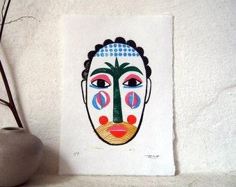 Palm Mask / Linocut Print