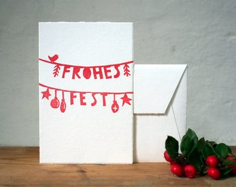 Frohes Fest  / Handprinted Christmas Card