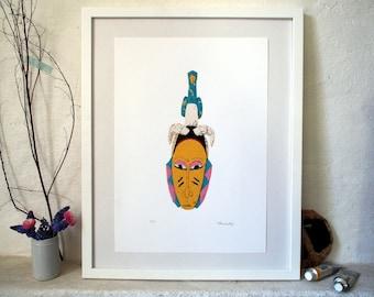 Bird Mask / Original Linocut Print