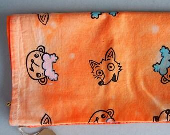 Little lamb and fox / Handprinted Bandana