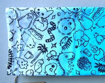 Doodles / Handprinted Bandana - black on faded blue