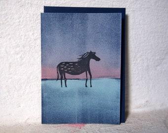 Dark Horse / Handprinted Art Card