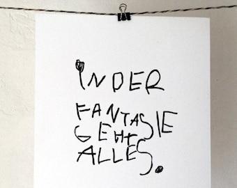 Fantasie / Linocut Print