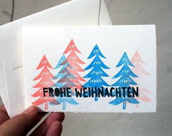 Frohe Weihnachten / Handprinted christmas card