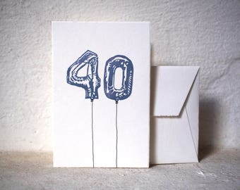 "Handprinted Birthday Card - balloon numbers - 10x15cm/A6/4x6"" // Greeting card for  family, friends, anniversaries"