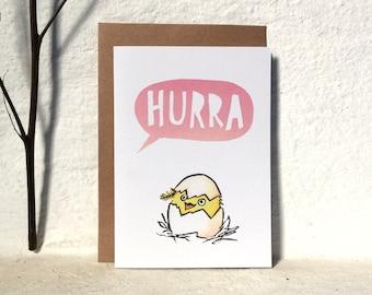 Hurra / Greeting card - pink