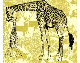 Giraffes - archival fine art print - A4