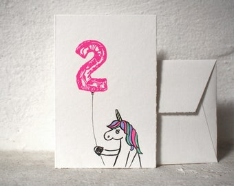 "Birthday Card - Unicorn with balloon number of your choice - handprinted - 10x15cm/A6/4x6"" // for baby, kids, family, friends, anniversary"