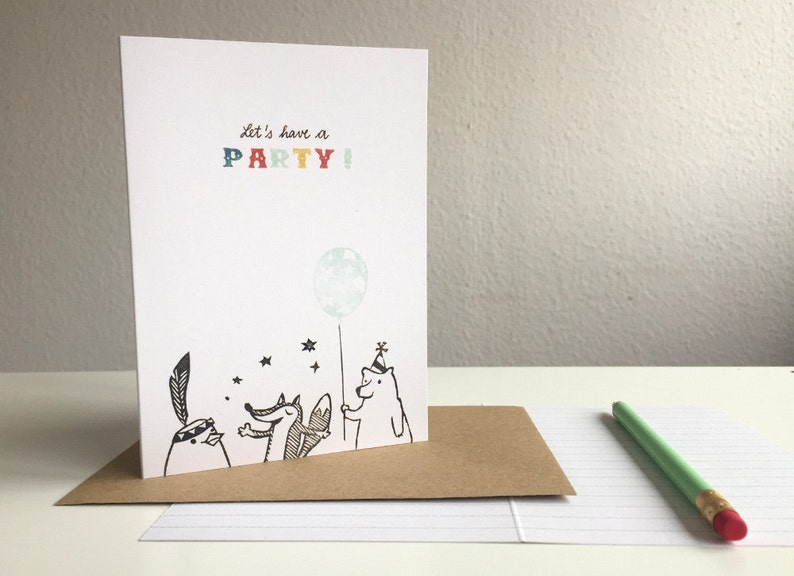 Let's have a party  greeting card  A6  100% ECO image 0