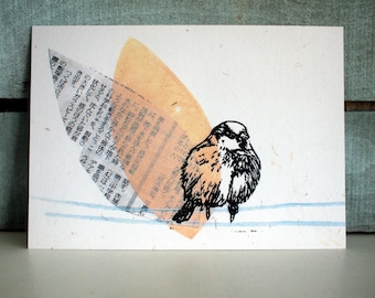 3 postcards - sparrow  - A6 - 100% ECO recycled paper - by SiebenMorgen