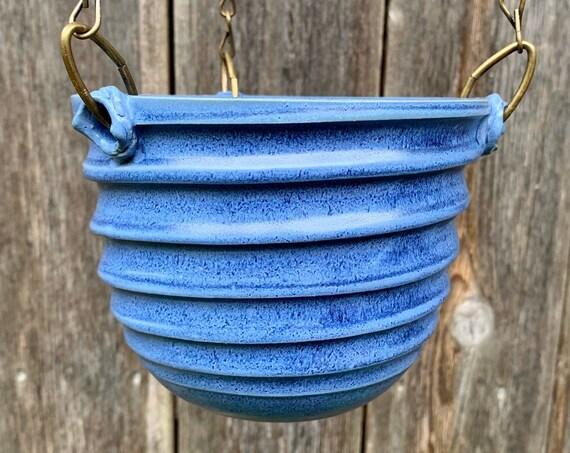 ceramic hanging pot in blue