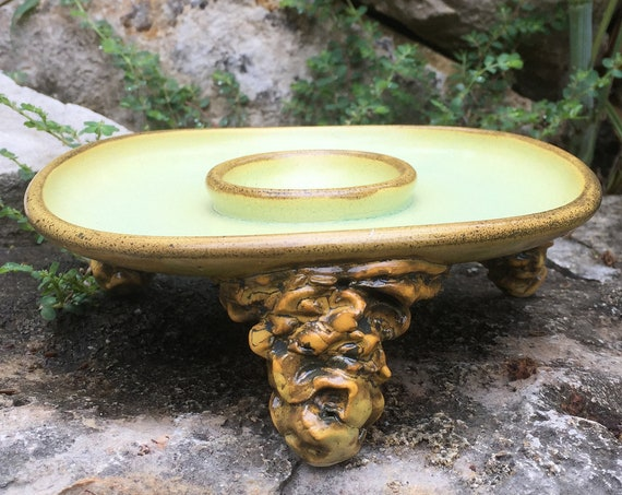 ceramic margarita salt rimmer in melon green and golden yellow