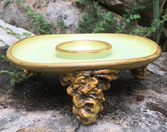 ceramic margarita salt rimmer in melon green and golden yellow