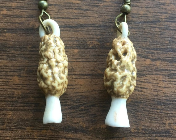 porcelain morel mushroom earrings in brown, beige, and white