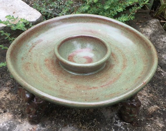 ceramic margarita salt rimmer in shino green and brown