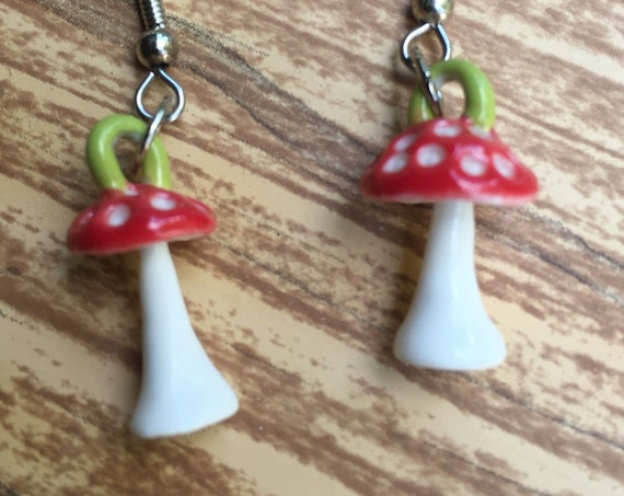 porcelain amanita muscaria mushroom earrings in red and white