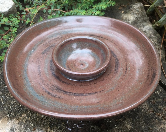ceramic margarita salt rimmer in shino brown and blue