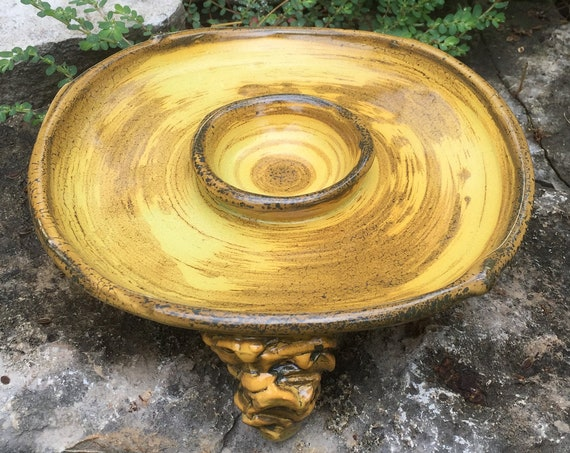 ceramic margarita salt rimmer in golden yellow and beige