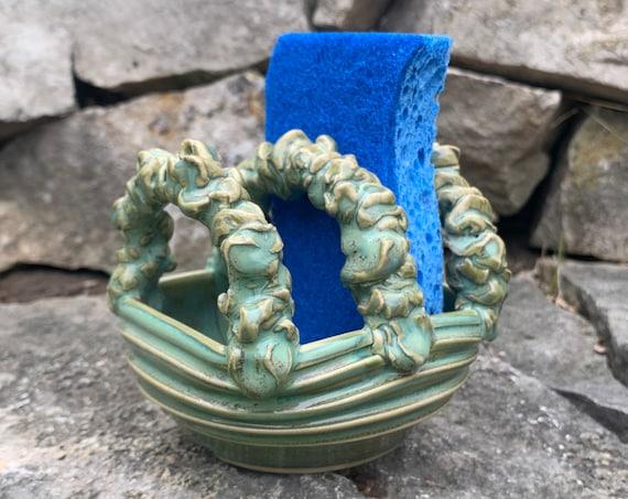 ceramic sponge holder in turquoise green