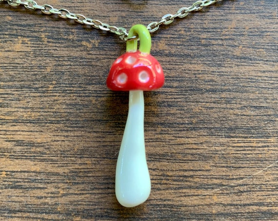 porcelain amanita muscaria mushroom pendant in red and white