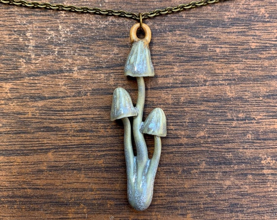 porcelain triple psilocybin mushroom pendant in sage gray/green and purple