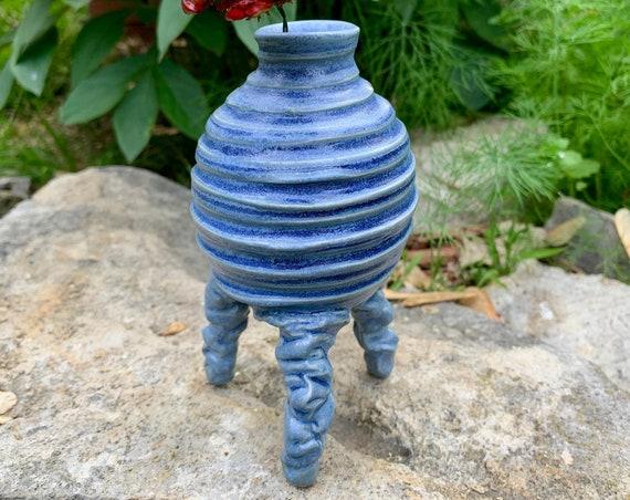 small ceramic bud vase in bright blue