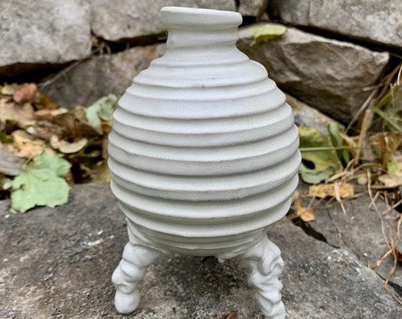 small ceramic bud vase in satin white