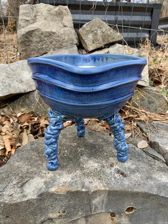 ceramic plant pot or bonsai tray in bright blue